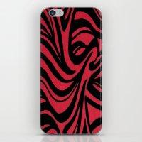 Red & Black Waves iPhone & iPod Skin