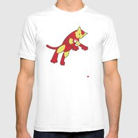 The Invincible IronCat Mens Fitted Tee White SMALL