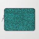 Neon Turquoise Leopard Laptop Sleeve
