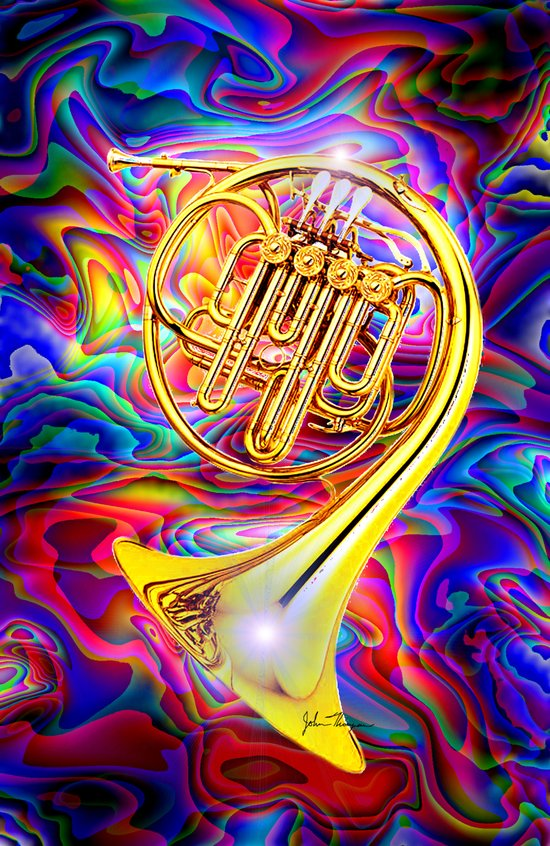 Psychedelic French horn Art Print