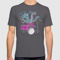 Octopus Playing Drums - … Mens Fitted Tee Asphalt SMALL