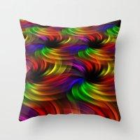 Rainbow Swirls Throw Pillow
