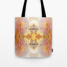 Dahlias and Orchids flowers in reflect Tote Bag