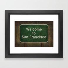 Welcome to San Francisco road sign illustration Framed Art Print