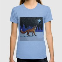 Christmas Fox Womens Fitted Tee Athletic Blue SMALL