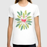 watercolor T-shirts featuring Flamingos by Cat Coquillette