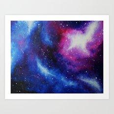 Galaxy Art Print from an original acrylic Painting Purple, Blue, Pink Art Print