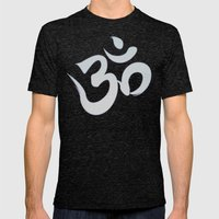 Mantra ... Aom in white Mens Fitted Tee Tri-Black SMALL