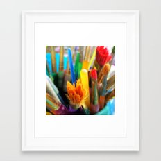 Colourful paint brushes Framed Art Print