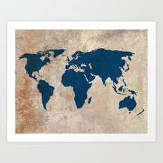 Rustic World Map Art Print