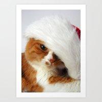 Santa Cat Art Print