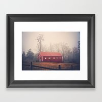 Little Red Barn in the Fog Framed Art Print
