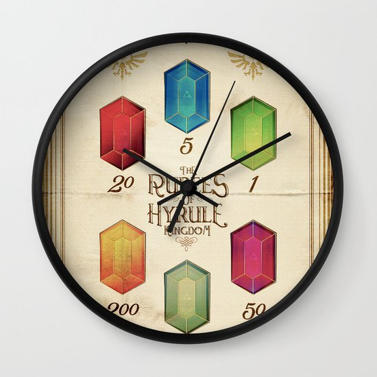 Legend of Zelda - The Rupees of Hyrule Kingdom Guide Wall Clock