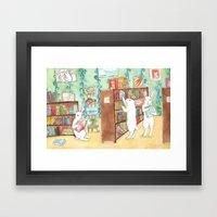 Bookstore Bunnies Framed Art Print