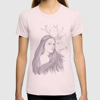 The White Deer Womens Fitted Tee Light Pink SMALL