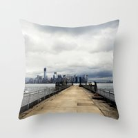 View from Liberty Island Pier Throw Pillow