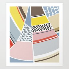 striped yacht Art Print