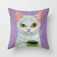 WHITE CAT AND BLACK COFF… Throw Pillow