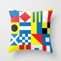 International Alphabetical Marine Signal Flags Throw Pillow
