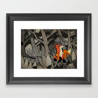 Fox In The Wood Framed Art Print