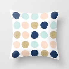 Wren - Pastel Brush Stroke Minimal Dots with glitter  Throw Pillow