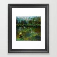 Frog on his Rock Framed Art Print