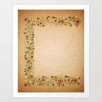 Gold Roses Left Manuscri… Art Print
