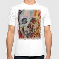 Skull Fire Mens Fitted Tee White SMALL