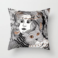 Capable Cat Throw Pillow