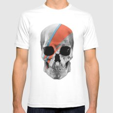 Skull Bowie White Mens Fitted Tee SMALL