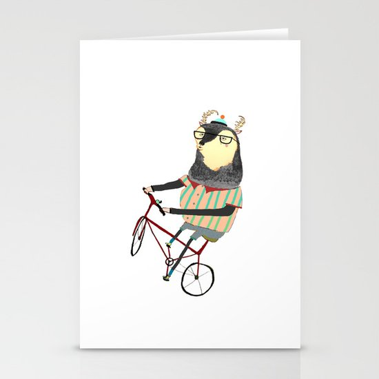 Deer on Bike.  Stationery Card