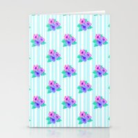 Hibiscus and Stripes Stationery Cards