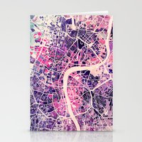 map Stationery Cards featuring London Mosaic Map #2 by Map Map Maps