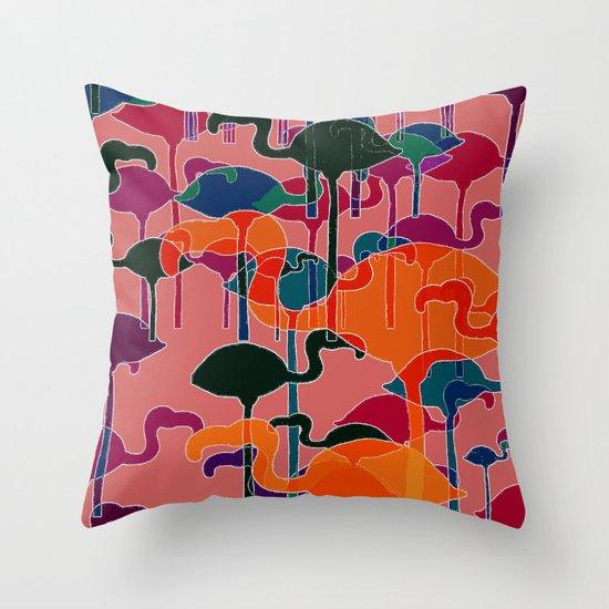 multicoloured flamingos Throw Pillow