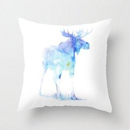 Throw Pillow - Blue Watercolor Moose - Pati Designs