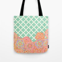 Floral Doodle On Mint Mo… Tote Bag