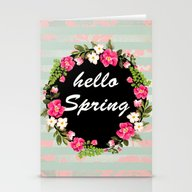 Stationery Cards featuring HELLO SPRING by Nika