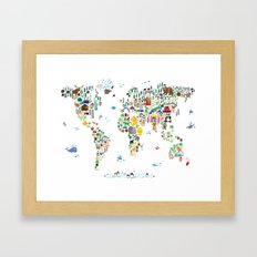 Animal Map Of The World … Framed Art Print