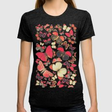 Come with me butterflies. Womens Fitted Tee Tri-Black SMALL
