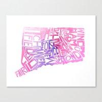 Typographic Connecticut … Canvas Print