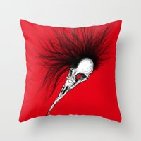 Bird Skull Throw Pillow