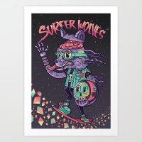 Surfer Wolves Art Print