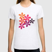 Hippie Orange and pink flowers  Womens Fitted Tee Ash Grey SMALL