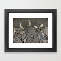 Four Bulls Framed Art Print