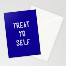Treat Yo Self Blue - Parks and Recreation Stationery Cards