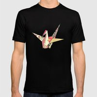 Floral Origami Mens Fitted Tee Black SMALL