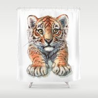 Playful Tiger Cub 907 Shower Curtain
