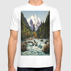 Mountains Forest Rocky River Mens Fitted Tee White SMALL