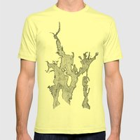 Narragansett Bay Waves Mens Fitted Tee Lemon SMALL