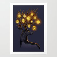 yellow Art Prints featuring Dream Guide by Freeminds